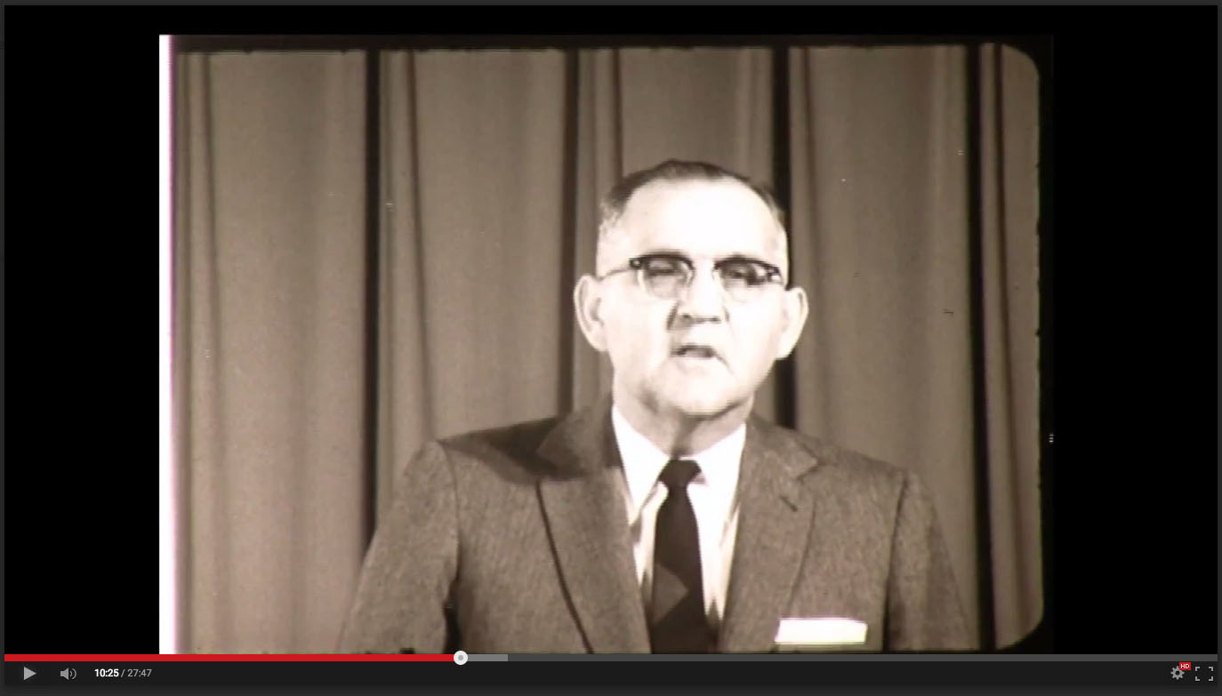H. A. Dixon, President of Freed-Hardeman College, November 20-21, 1958; Herald of Truth Television Film #65. Center for Restoration Studies, Milliken Special Collections, Abilene Christian University, Abilene, TX.