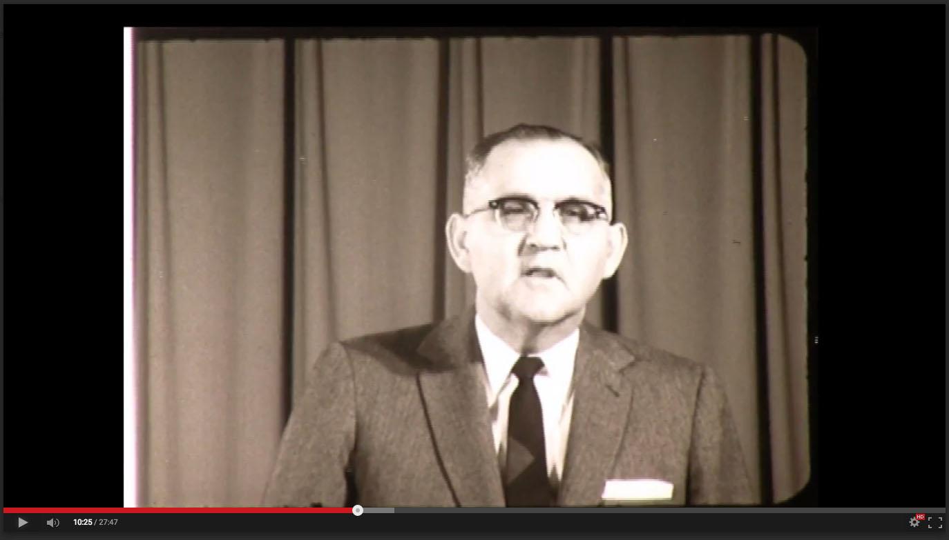 H. A. Dixon, President of Freed-Hardeman College, November 20-21, 1958; Herald of Truth Television Film #65. Center for Restoration Studies, Milliken Special Collections, Abilene Christian University, Abilene, TX.