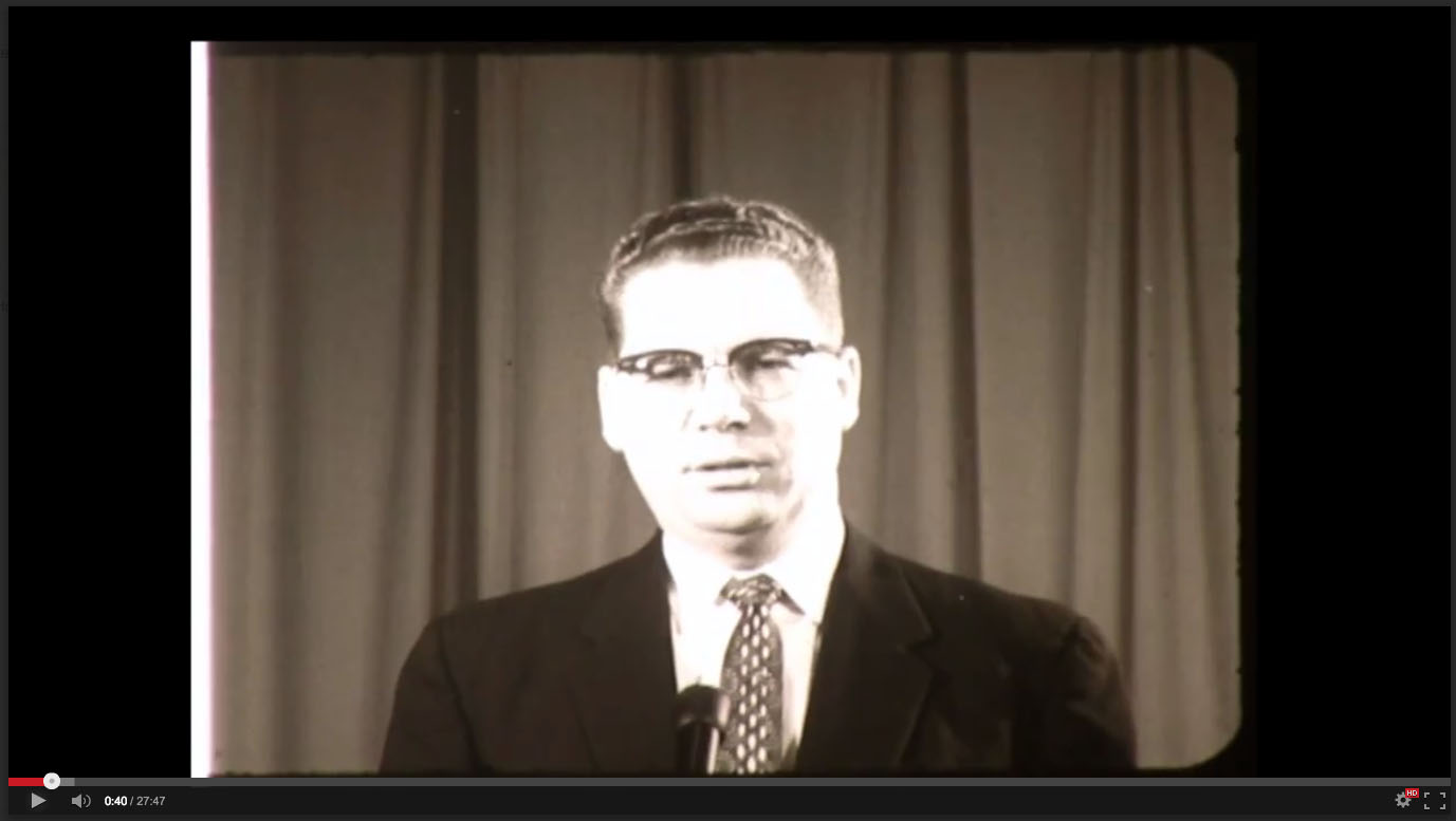 E. Claude Gardner, Freed-Hardeman College, November 20-21, 1958; Herald of Truth Television Film #65. Center for Restoration Studies, Milliken Special Collections, Abilene Christian University, Abilene, TX.