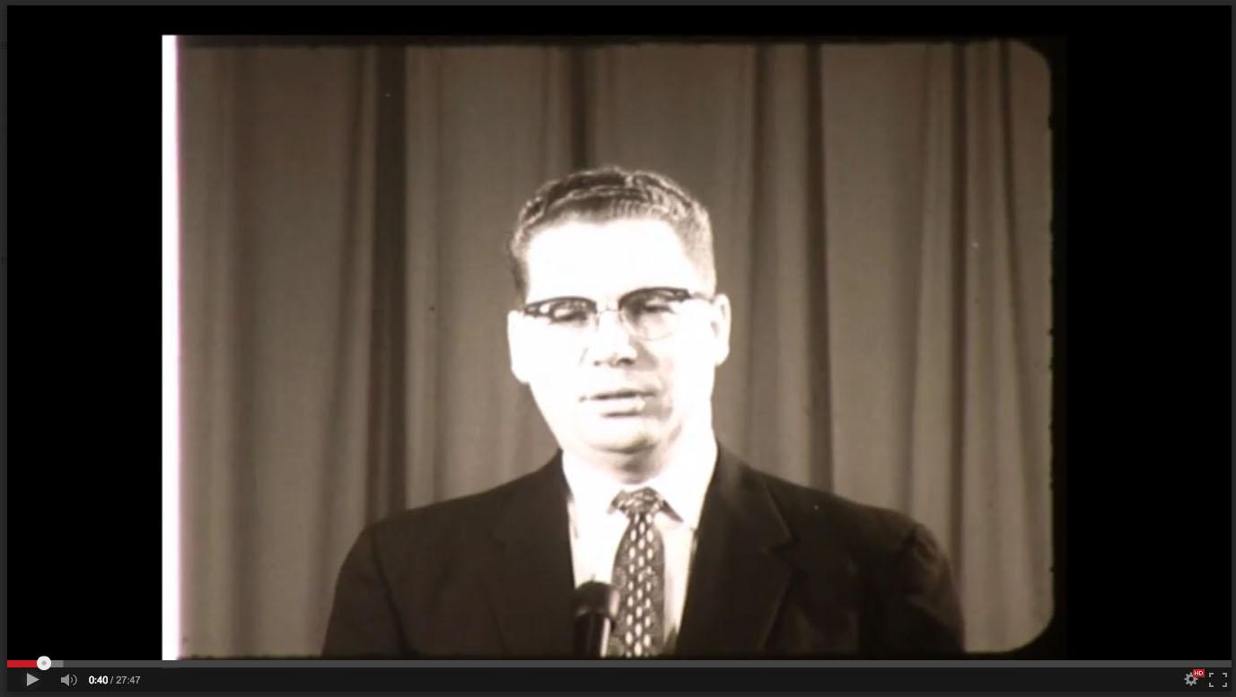 E. Claude Gardner, Freed-Hardeman College, November 20-21, 1958; Herald of Truth Television Film #65. Center for Restoration Studies, Milliken Special Collections, Abilene Christian University, Abilene, TX.