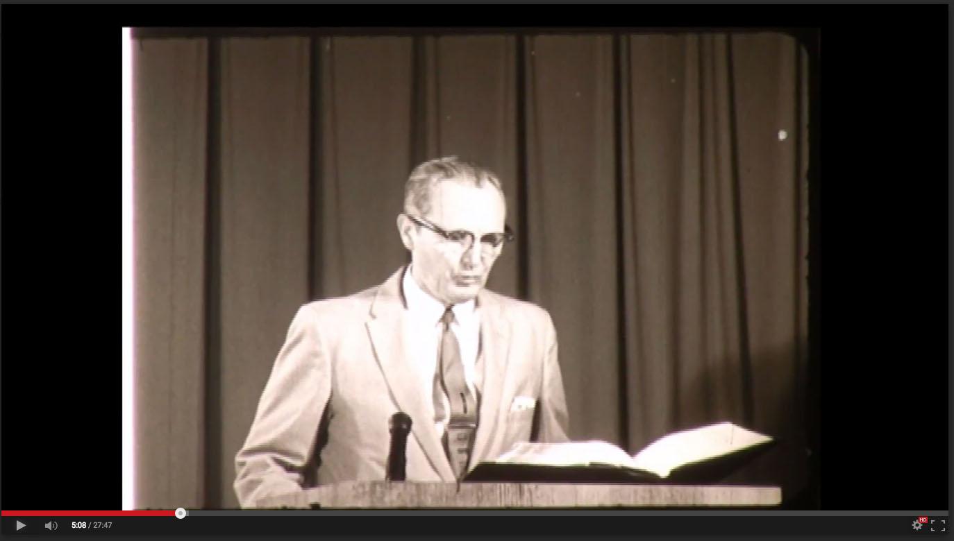 Olan Hicks, Freed-Hardeman College, November 20-21, 1958; Herald of Truth Television Film #65. Center for Restoration Studies, Milliken Special Collections, Abilene Christian University, Abilene, TX.
