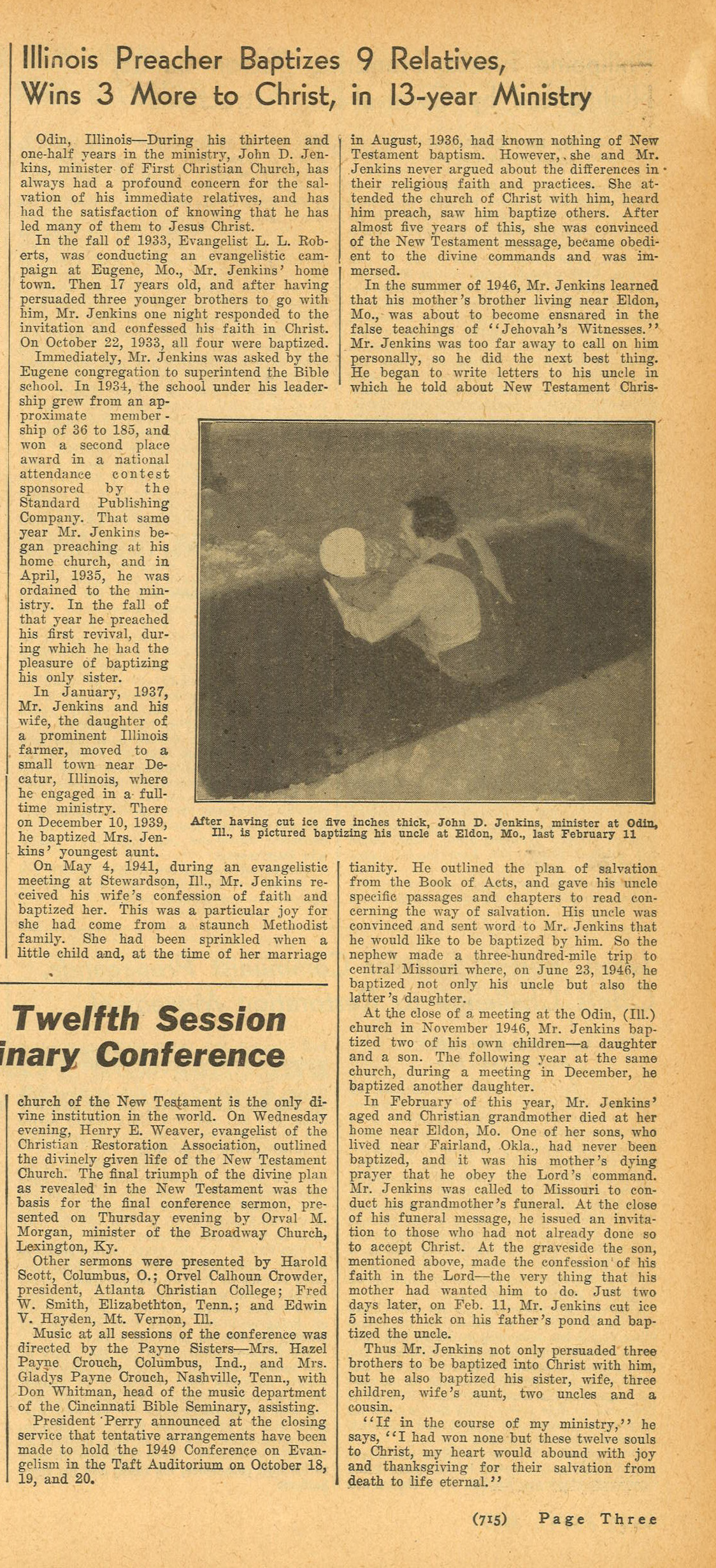 Baptism in ice, Christian Standard, October 30, 1948, p. 715