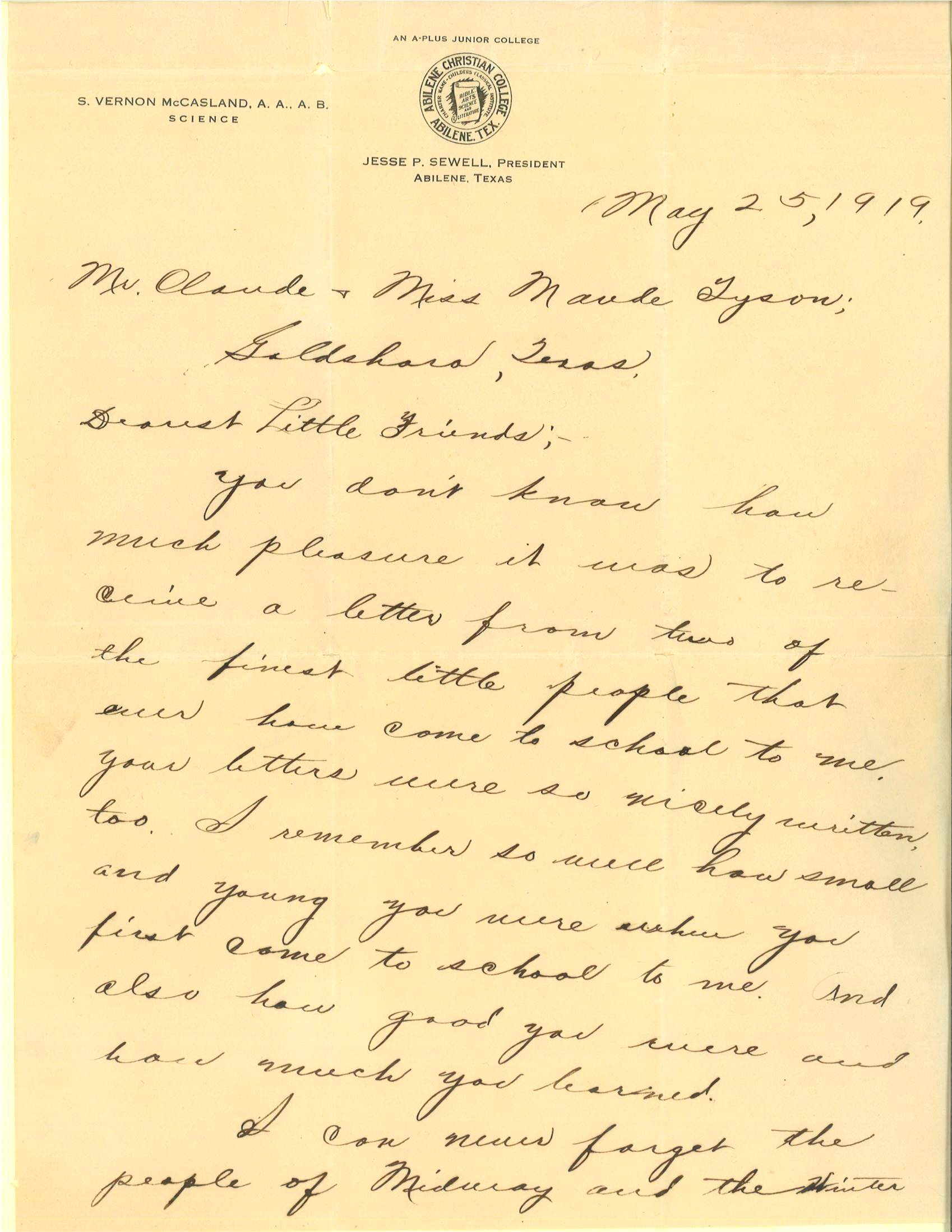 Letter, S. Vernon McCasland to Claude and Laude Tyson, May 25, 1919, p. 1