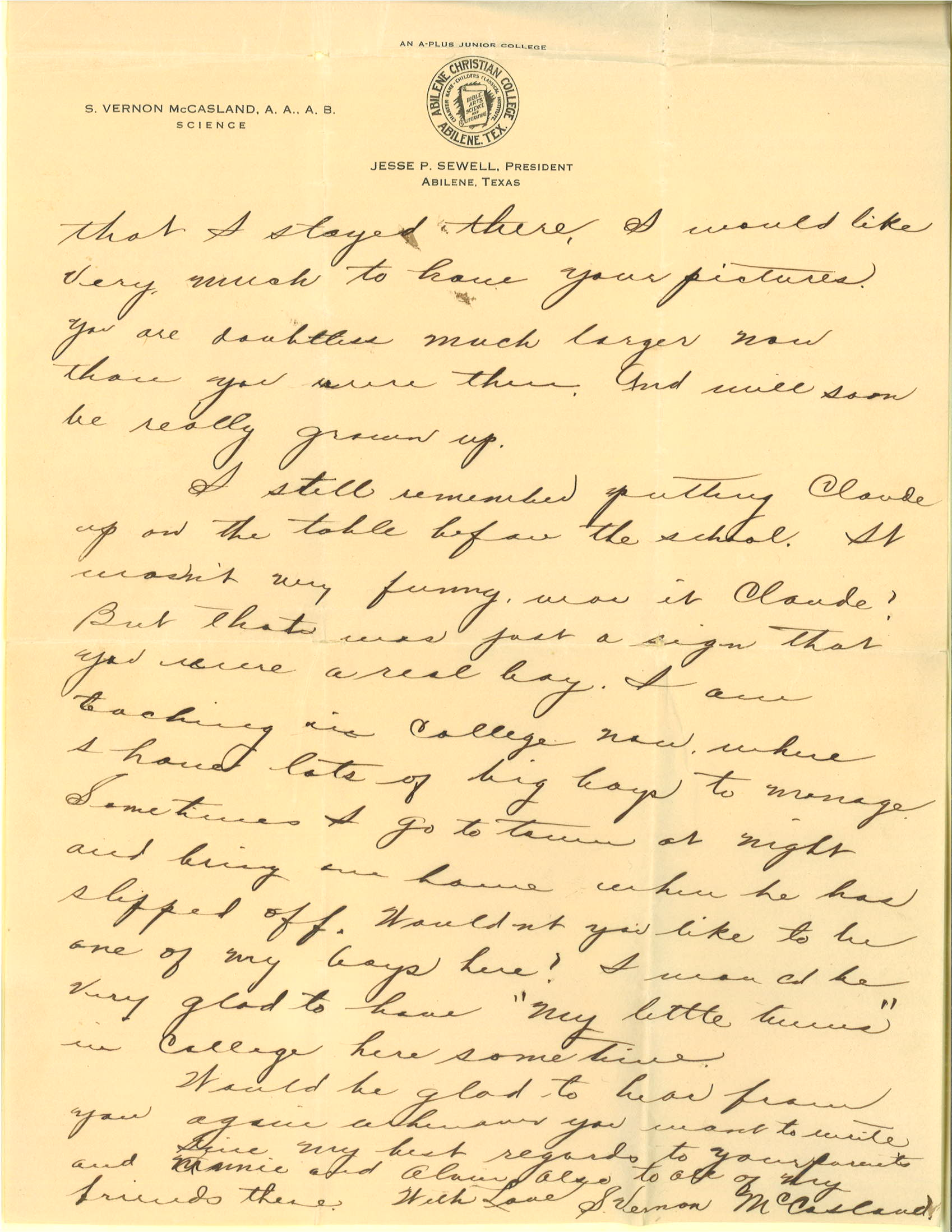 Letter, S. Vernon McCasland to Claude and Laude Tyson, May 25, 1919, p. 2