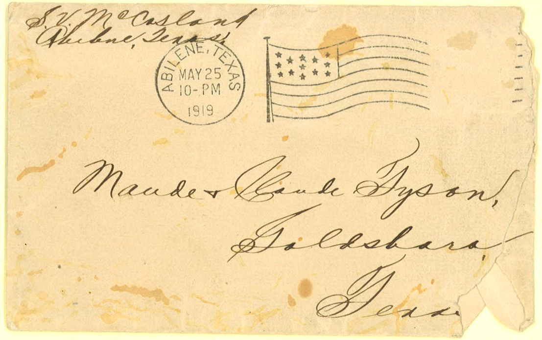 Letter, S. Vernon McCasland to Claude and Laude Tyson, May 25, 1919, envelope