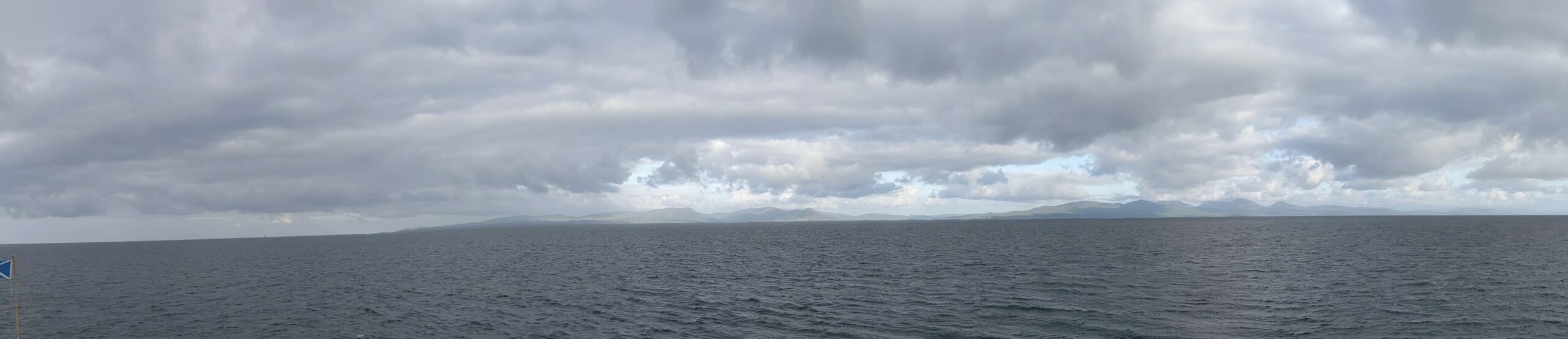 Mountainous islands of Islay (left) and Jura (right) seen from a ship approaching from the east.