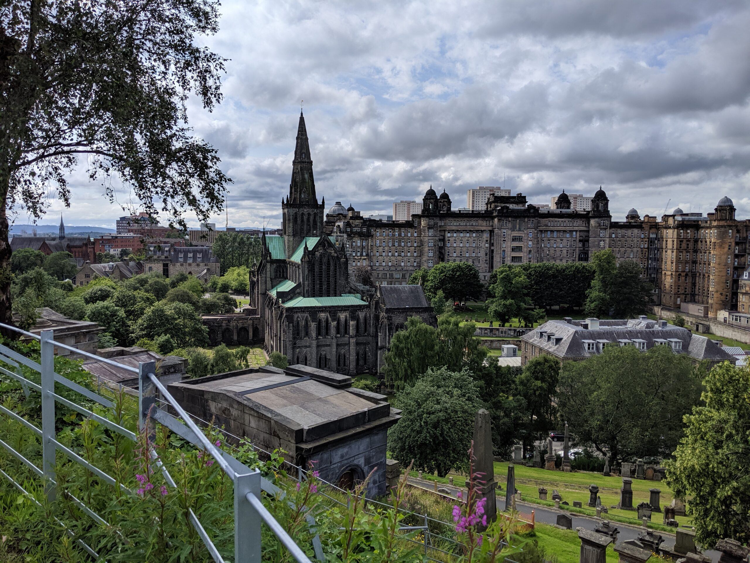 A view of Glasgow Cathedral and the domed Royal Infirmary from the hillside behind the cathedral.