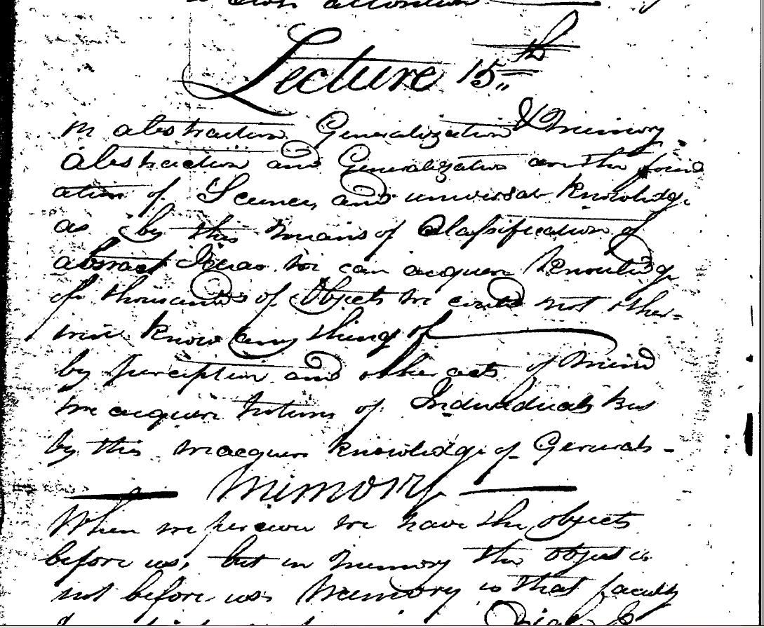 Handwritten page with Lecture 15th at the top