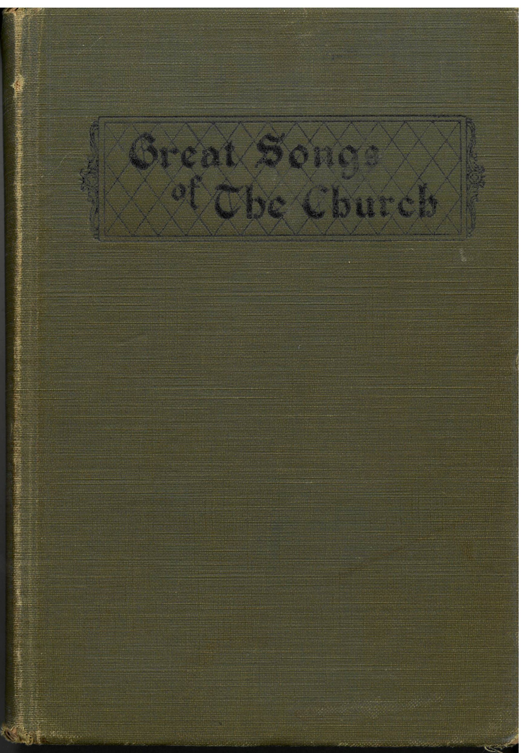 Great Songs of the Church. A Comprehensive Collection of Psalms, Hymns, and Spiritual Songs of First Rank, Suitable for all Services of the Church. Alphabetically Arranged. E. L. Jorgenson, Compiler. First edition. Word and Work: Louisville, 1921. Green cover with round notes.