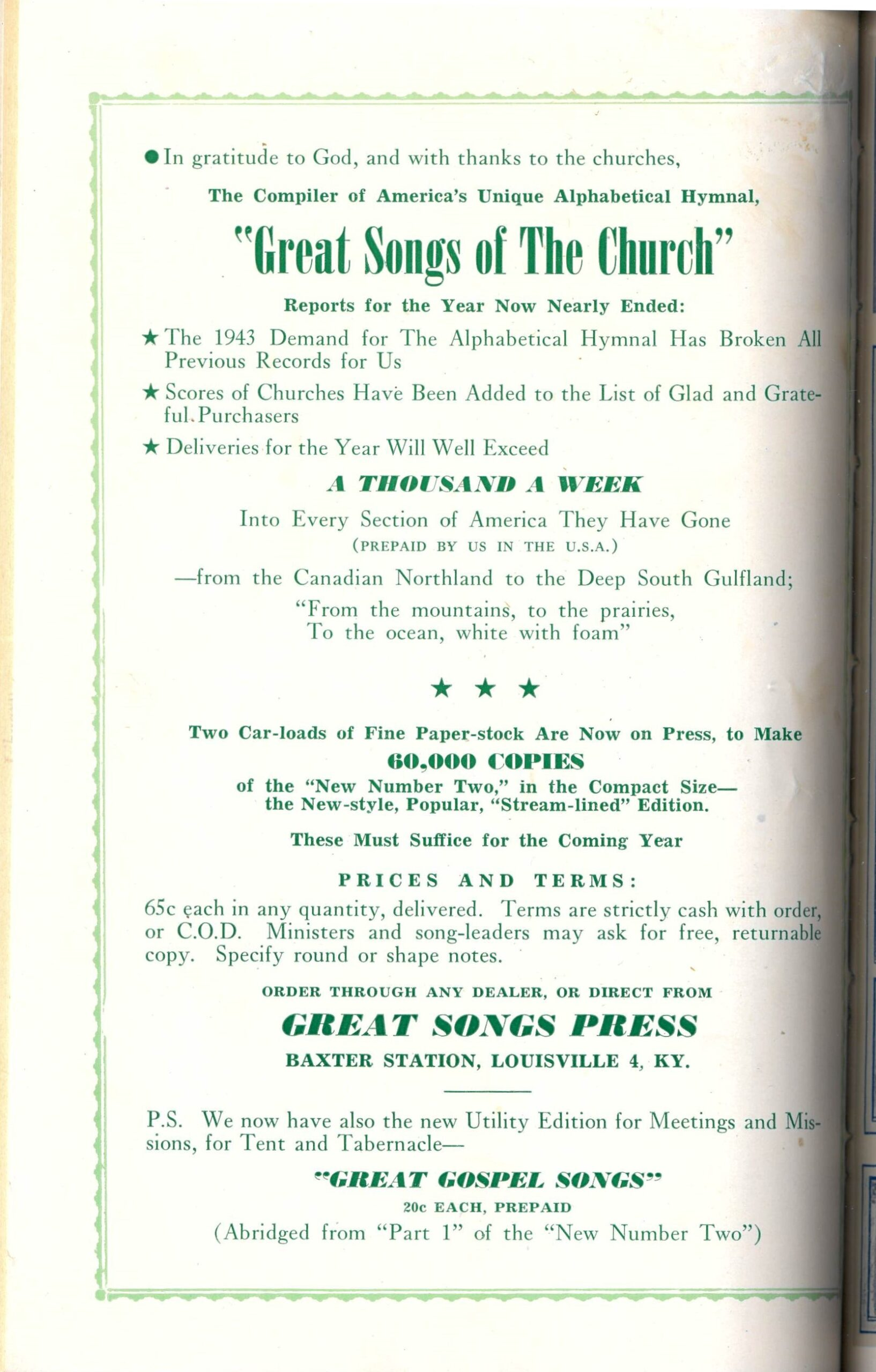 'In gratitude to God…,' World Vision, back cover January-March 1944.