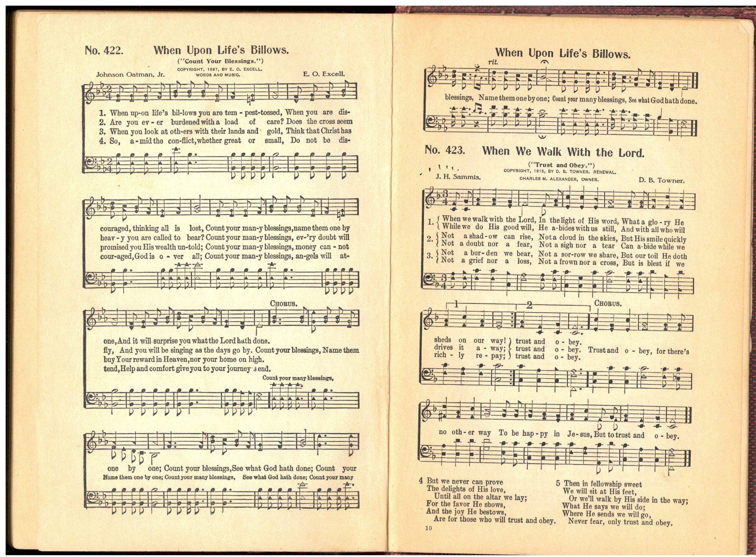 Excell and Alexander side-by-side in Great Songs of the Church