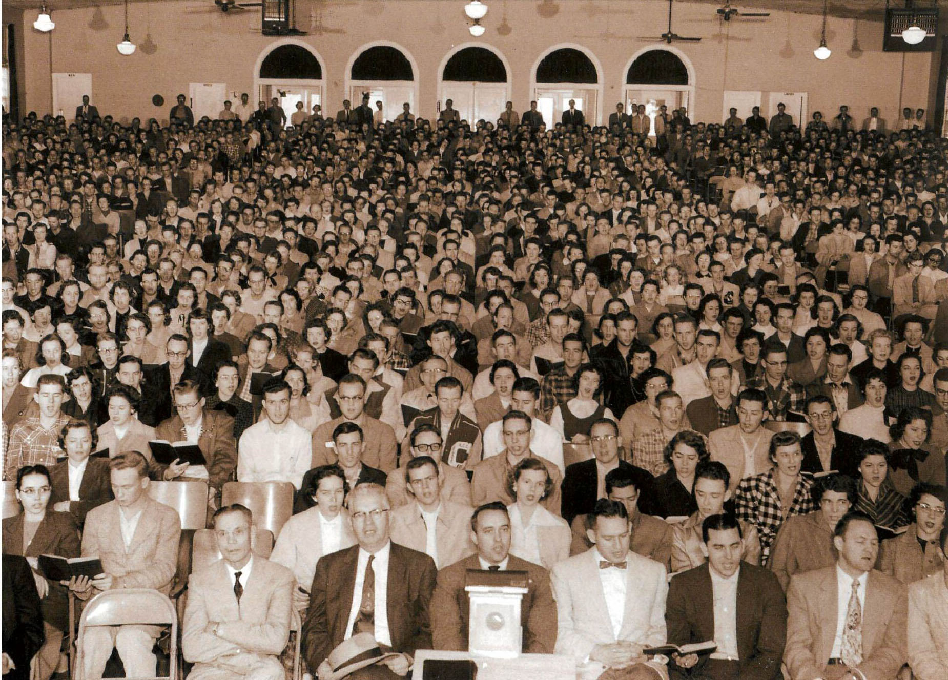 Photograph of daily chapel in Sewell Auditorium, Abilene Christian College, ca 1955.