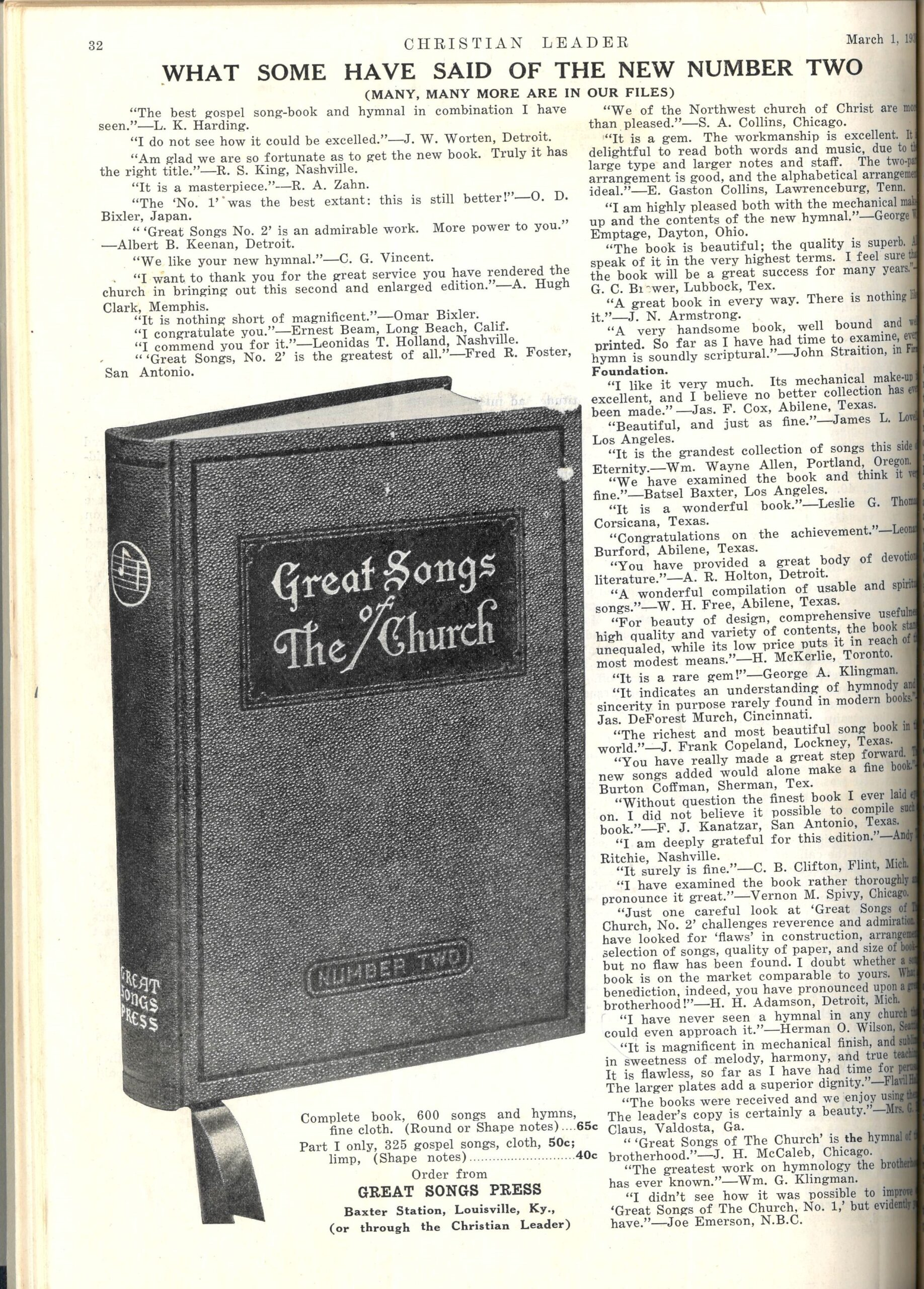 'What Some have Said…,' Christian Leader, back cover, March 1, 1938.