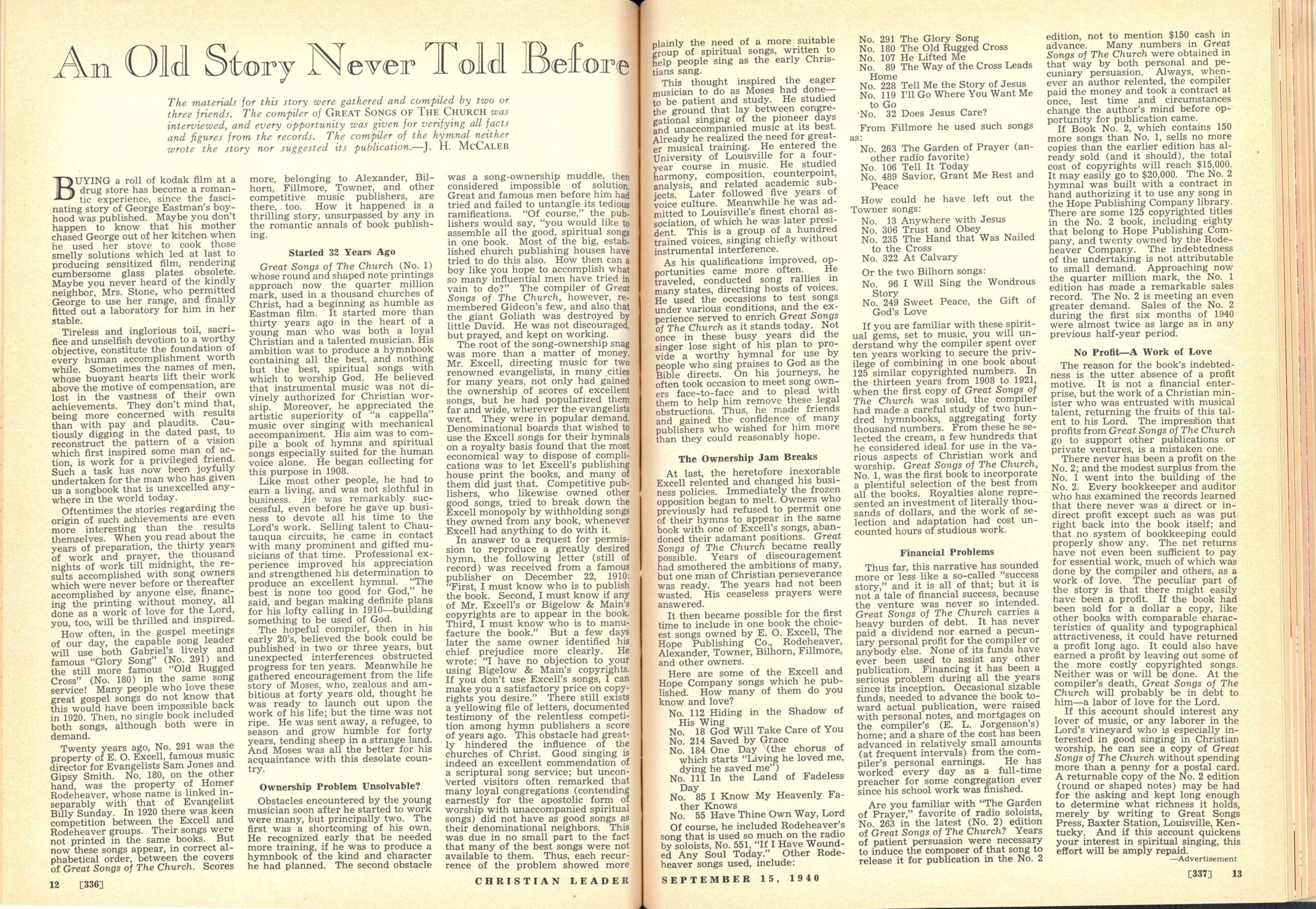 Advertisement, 'An Old Story Never Told,' Christian Leader, September 15, 1940.