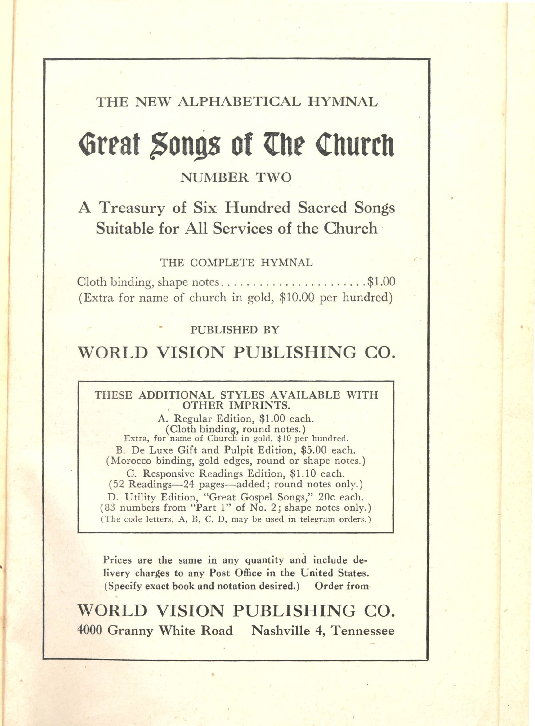 Great Songs of the Church, 28th edition, World Vision Publishing Company: Nashville, ca. 1948. Title page.