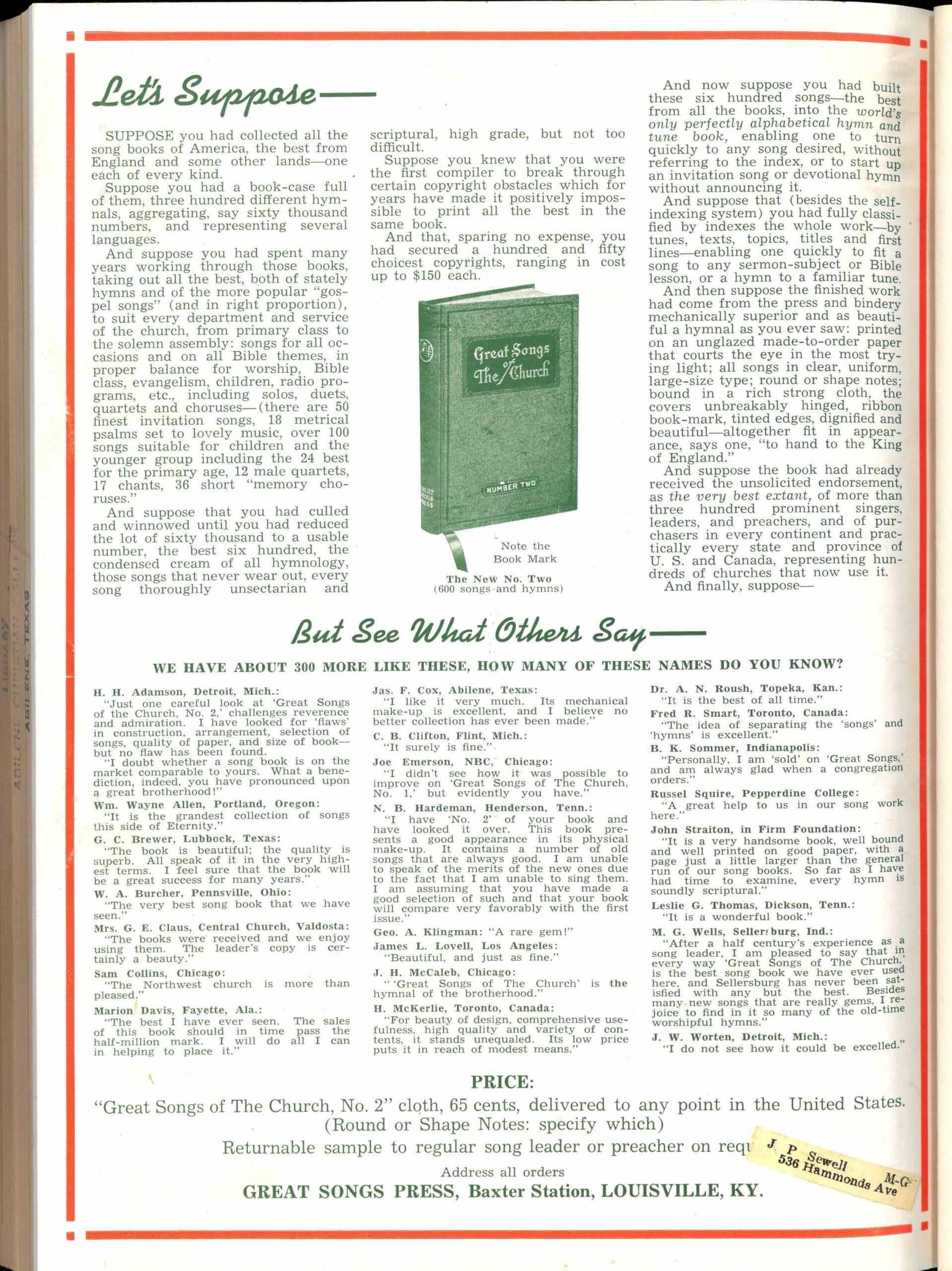 Advertisement, 'Let's Suppose…' Christian Leader, December 15, 1939.