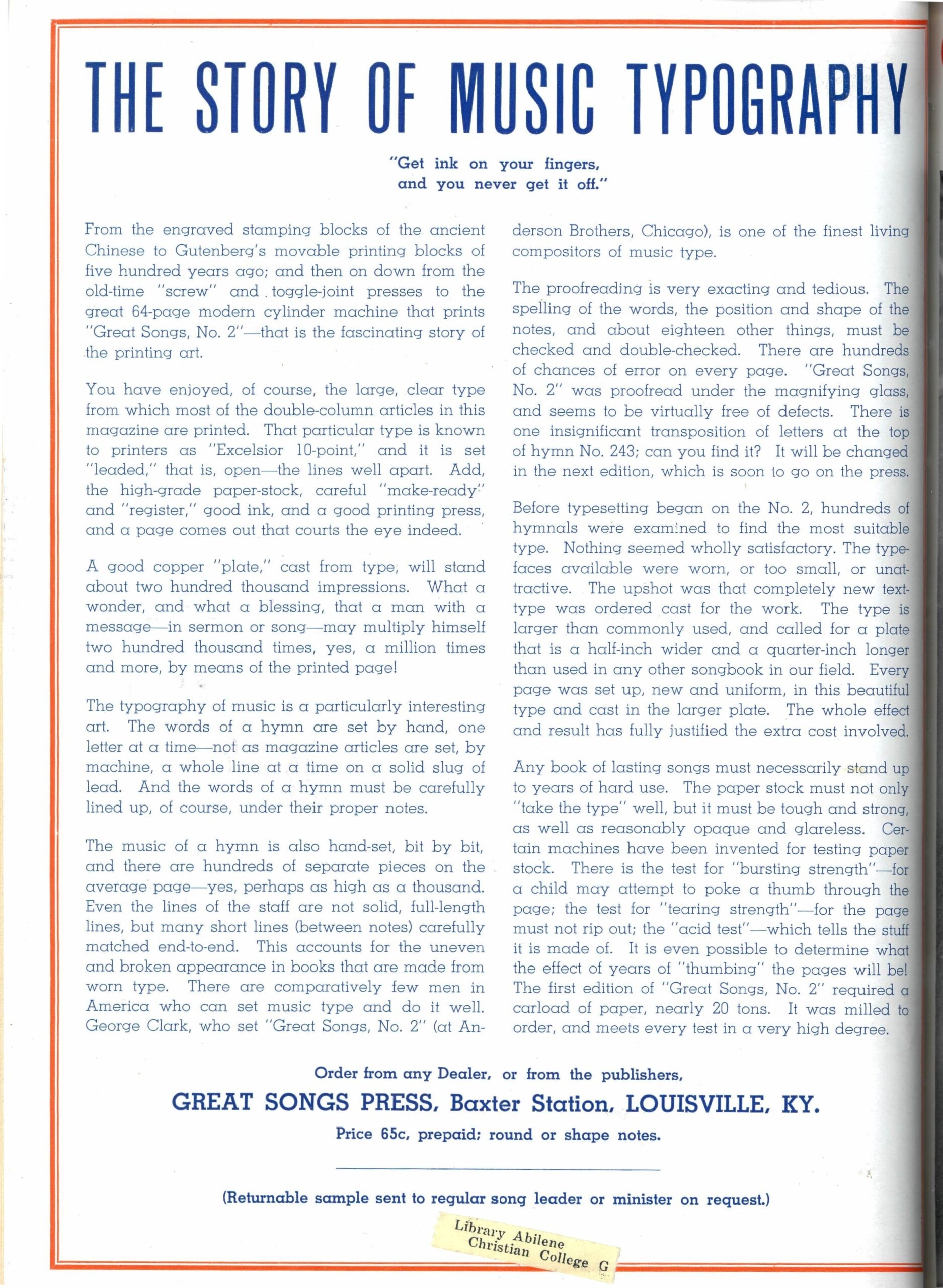 Advertisement, 'Music Typography,' Christian Leader March 1, 1940.