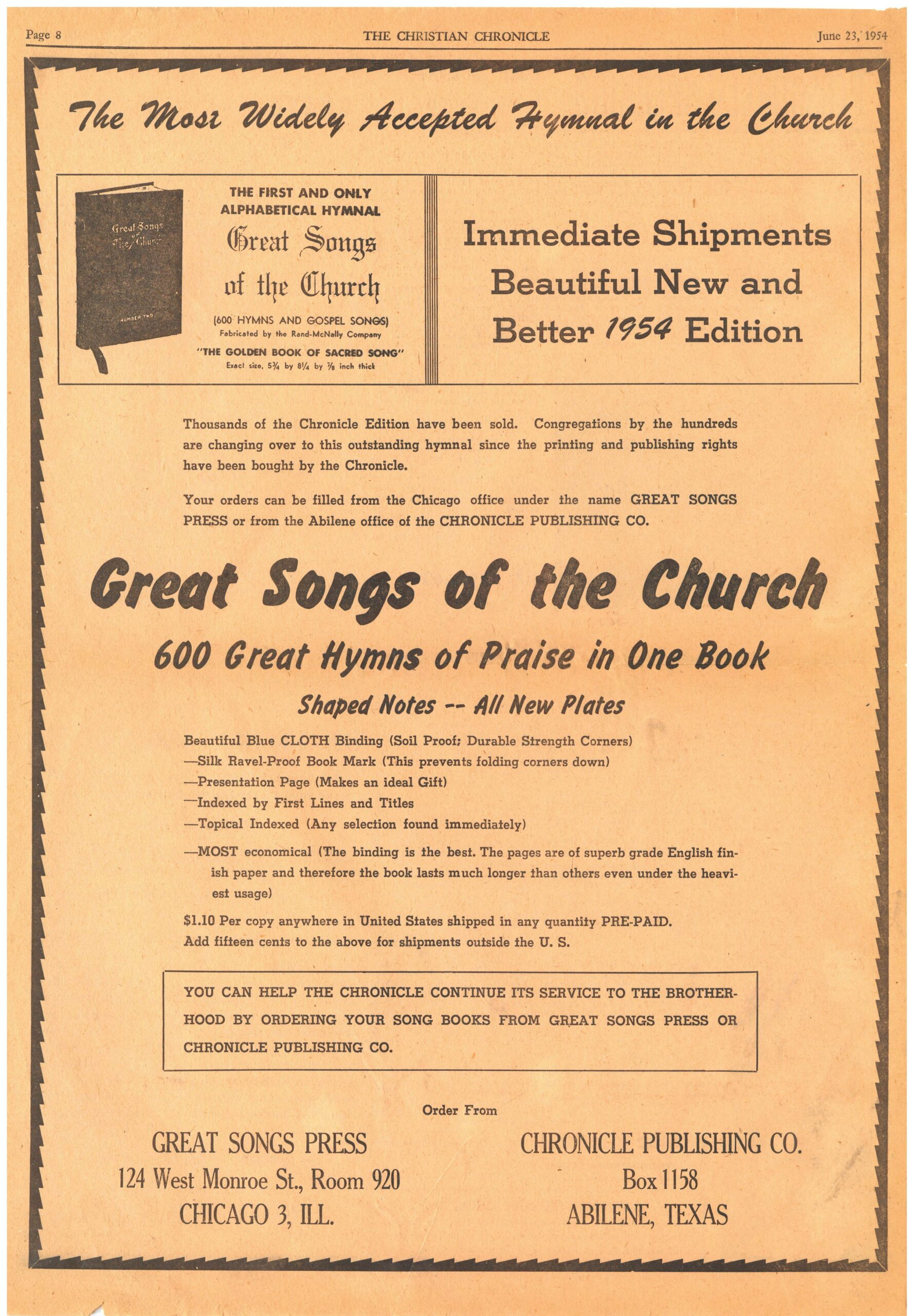 Advertisement, 'The Most Widely Accepted Hymnal in the Church,' Christian Chronicle, June 23, 1954.