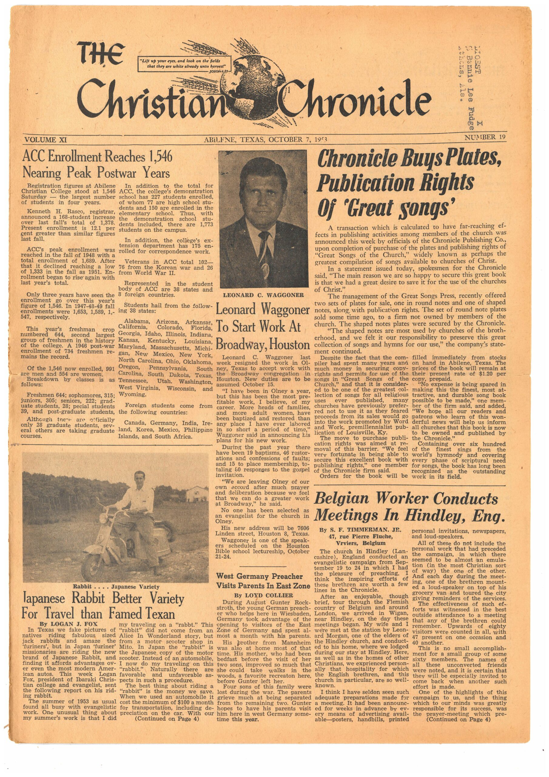 'Chronicle Buys Plates, Publications Rights of 'Great Songs,' Christian Chronicle October 7, 1953.