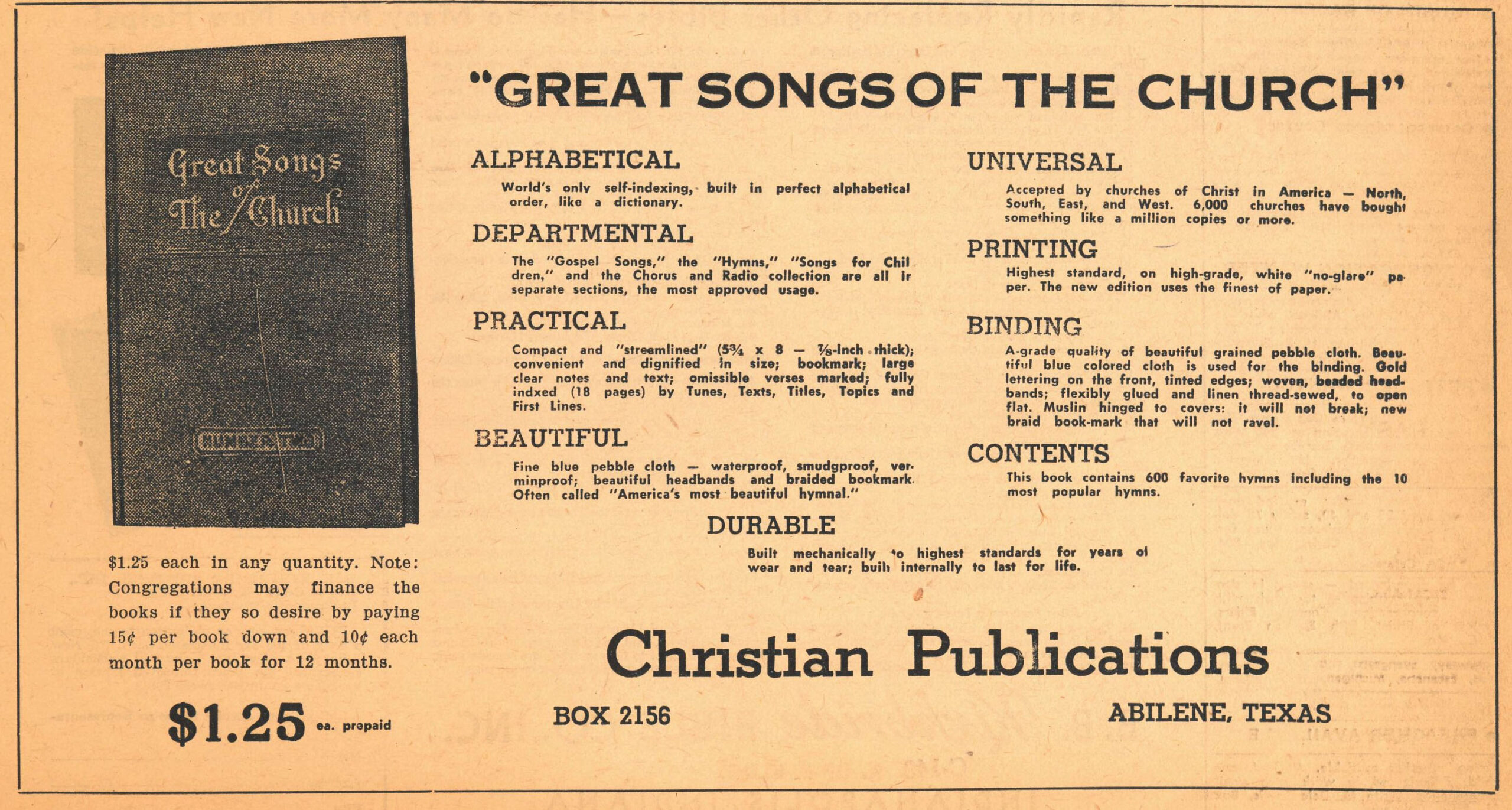 Advertisement for Great Songs of the Church using the printing block above. Christian Chronicle, September 17, 1957.