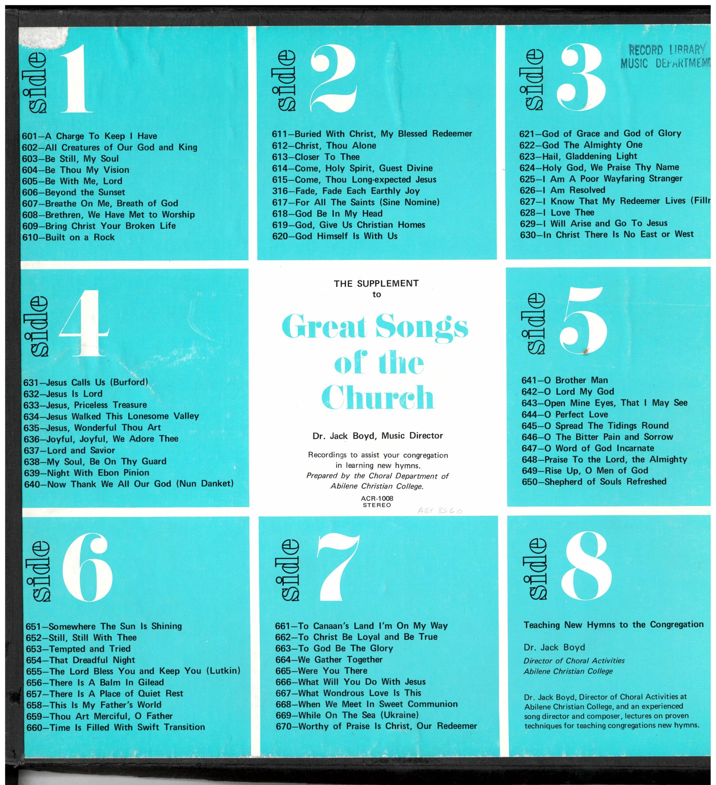 Supplement to Great Songs of the Church LP album