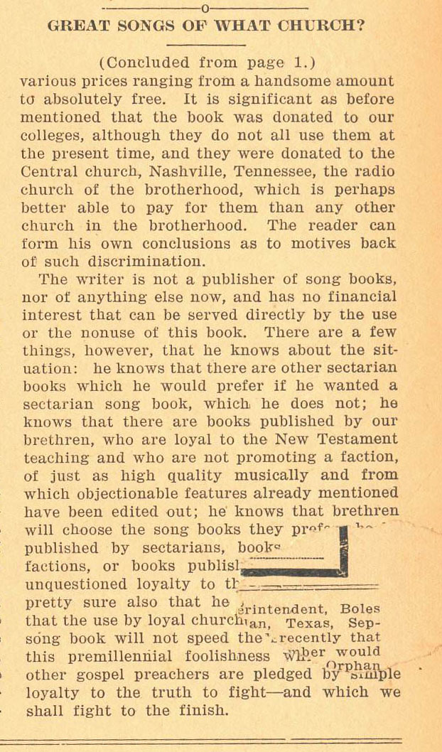 """Foy E. Wallace, Jr. """"Great Songs of the Church,"""" Firm Foundation, September 29, 1936."""