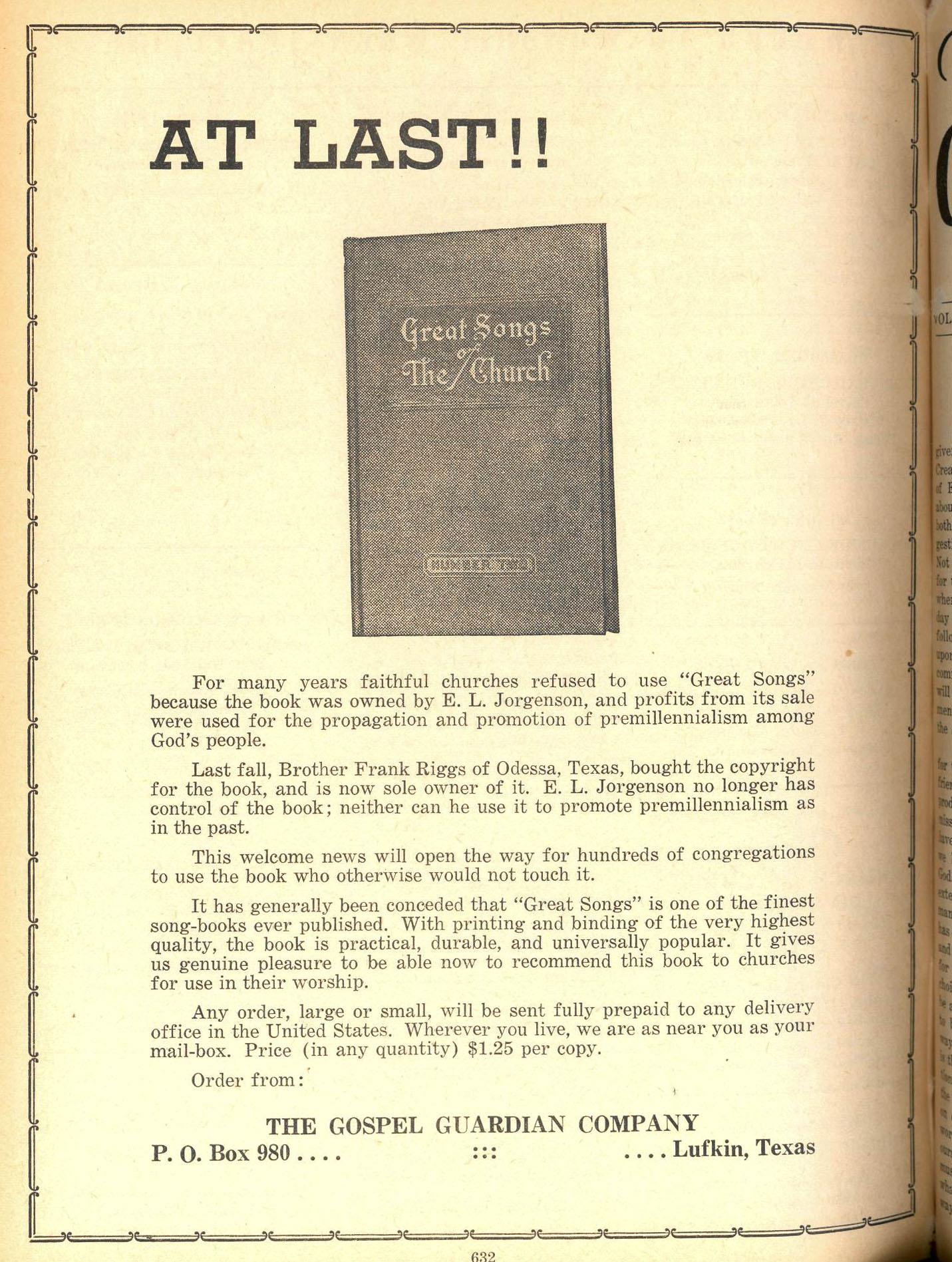 Advertisement, 'At Last,' Gospel Guardian, February 7, 1957.