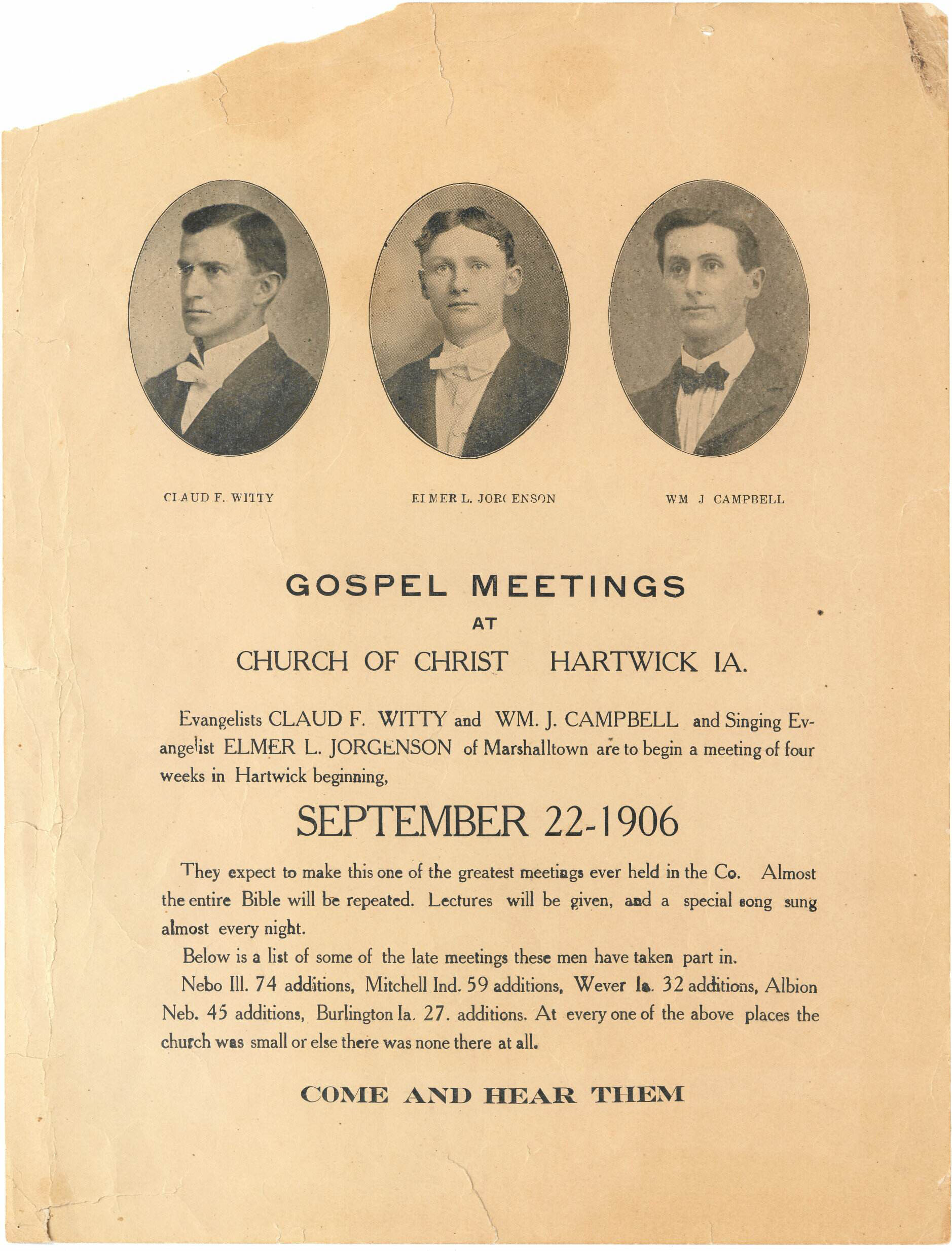 Poster. September 1906. On loan from M. Ice, Director of Special Collections