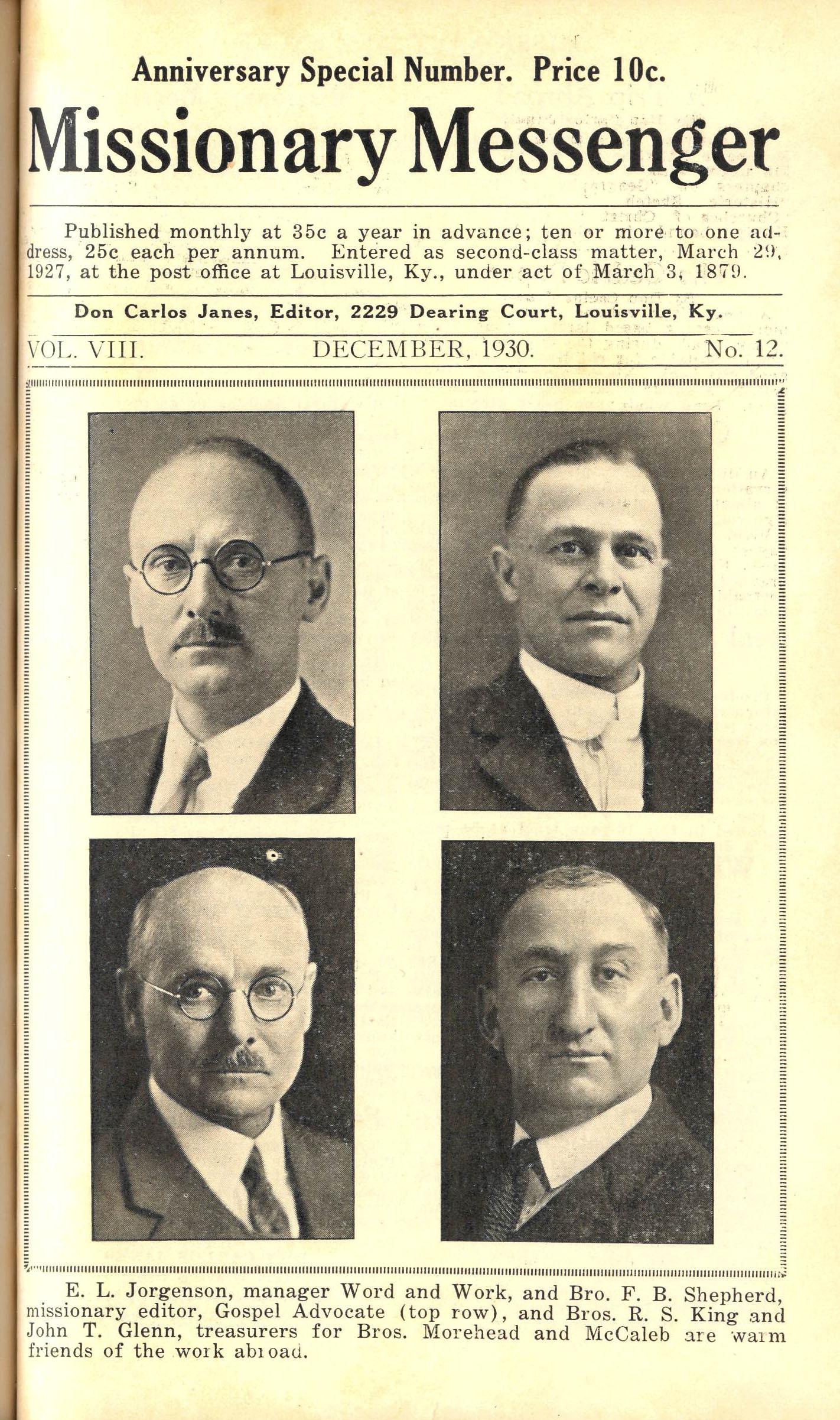 Missionary Messenger, December 1930, photographs of E. L. Jorgenson, F. B. Shepherd, John T. Glenn, and R. S. King.