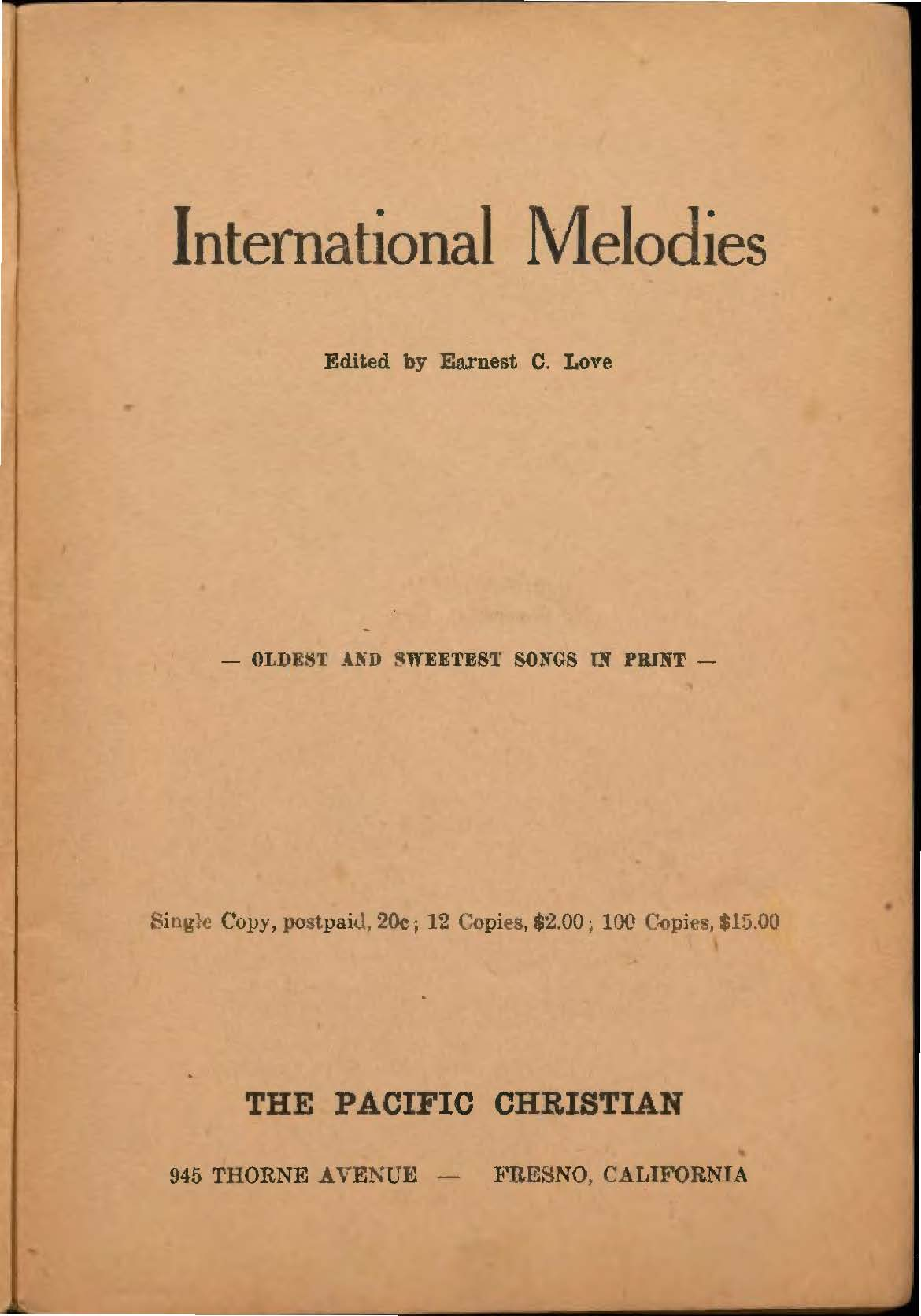 Earnest C. Love, International Melodies, 1924, title page