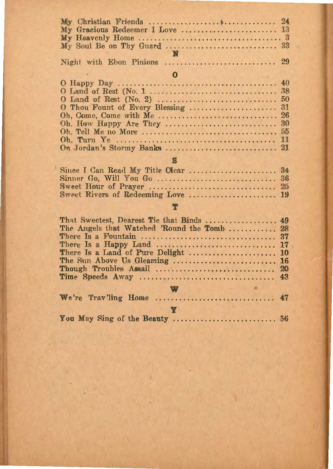 Earnest C. Love, International Melodies, 1924, index of first lines