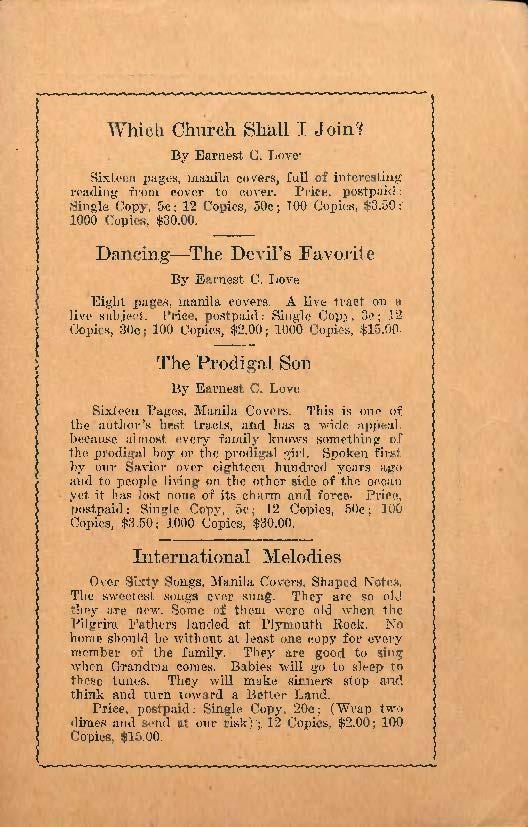Earnest C. Love, International Melodies, 1924, advertisement