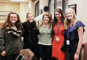 Allison Phillips (2nd from right), her fellow researcher Megan Wixon (right), and Allison's roommates
