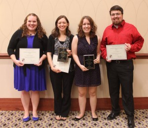 Undergraduate Researcher of the Year finalists: Kaitlin Pegoda, Tara Lowe, Tina Johnson and Levi Ritchie. (Not pictured Christopher Campbell and Aric Tate.)