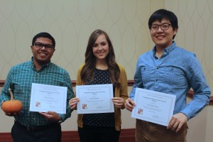 2015 Undergraduate Researcher of the Year finalists: Marc Gutierrez, Bre Heinrich, and Soo Hun Yoon. (Not pictured Caleb Orr, Kristen Clemons, and Hannah Hamilton)